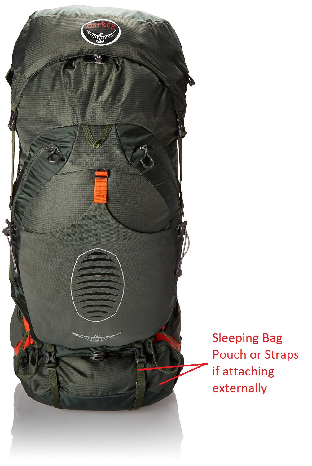 Osprey Mens Atmos 65 AG - Front sleeping bag comment
